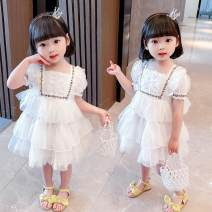 Dress white female Other / other 80cm,90cm,100cm,110cm,120cm,130cm Other 100% summer princess Short sleeve Solid color Netting Cake skirt Class A 12 months, 18 months, 2 years old, 3 years old, 4 years old, 5 years old, 6 years old, 7 years old Chinese Mainland Shanghai