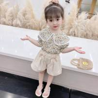 suit Other / other Light green, apricot, pink 80cm,90cm,100cm,110cm,120cm female summer Korean version Short sleeve + pants 2 pieces routine There are models in the real shooting Socket nothing Broken flowers Pure cotton (100% cotton content) children Expression of love Class A Chinese Mainland