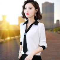 shirt White red blue yellow S M L XL 2XL Summer 2020 polyester fiber 96% and above Long sleeves commute Regular V-neck Socket shirt sleeve Solid color 25-29 years old Straight cylinder Niselin Splicing Polyester 100% Pure e-commerce (online only)