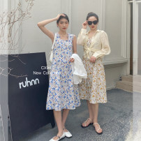 Dress Summer 2021 Yellow, blue, white shirt, apricot shirt S. M, l, average size longuette singleton  Sleeveless commute square neck High waist Decor zipper A-line skirt other straps 25-29 years old Type A Korean version More than 95% cotton