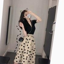 Women's large Summer 2020 Black top + polka dot skirt Large XL, large XXL, large XXL, large XXXXL, large L, M Dress Two piece set easy Socket polyester Ocnltiy
