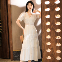 Dress Summer 2020 White, red, white long sleeves, red long sleeves S,M,L,XL,2XL,3XL longuette singleton  Short sleeve Sweet V-neck High waist Solid color Single breasted Big swing routine Others 25-29 years old Type A BORLIOU Crochet, cutout, stitching, button, lace WG10037 30% and below Poplin
