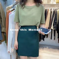 skirt Summer 2020 S,M,L,XL Black, camel, gray, green, white, navy Short skirt commute High waist A-line skirt Solid color Type A momentM8856 other Korean version