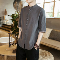 shirt other Onoco 3XL dark grey Thin money ANKW03 Cotton 78.3% flax 21.7% Summer of 2018 Pure e-commerce (online only)