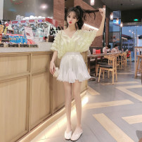 Fashion suit Summer 2020 Average size Fluorescent green top, white top, white skirt 18-25 years old X3-21