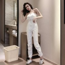 Casual pants White, red S, M Spring 2020 Ninth pants Jumpsuit High waist commute 18-24 years old X3-1 Korean version