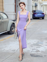 Dress Summer 2020 Ginger, violet S,M,L,XL longuette singleton  Sleeveless commute square neck High waist Solid color A-line skirt straps 18-24 years old Type H Korean version X3-6 31% (inclusive) - 50% (inclusive) other polyester fiber