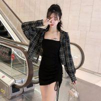 Fashion suit Autumn 2020 Average size Single suspender skirt, single coat, suspender + plaid coat 18-25 years old Other / other X8-8
