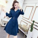 Dress Spring of 2019 Red, blue, black Average size Middle-skirt singleton  Long sleeves commute Polo collar High waist Solid color Single breasted A-line skirt routine 18-24 years old Type H Other / other Korean version X8-10 31% (inclusive) - 50% (inclusive) polyester fiber