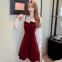 Dress Spring 2021 Red, black S,M,L,XL Short skirt Two piece set Long sleeves commute Crew neck High waist A-line skirt bishop sleeve Others 18-24 years old Korean version Splicing 31% (inclusive) - 50% (inclusive) other other