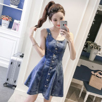 Dress Spring of 2019 Picture color S,M,L,XL Short skirt singleton  Sleeveless commute Crew neck High waist Solid color Single breasted A-line skirt straps 18-24 years old Type A Other / other Korean version Pocket, button 3-6 31% (inclusive) - 50% (inclusive) polyester fiber