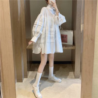 Dress Spring 2020 Black, white Average size Middle-skirt singleton  Long sleeves commute stand collar Loose waist Socket 18-24 years old Korean version