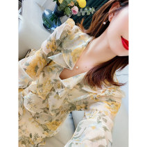 Dress Spring 2021 Goose yellow printing 36 38 40 Mid length dress singleton  Long sleeves commute V-neck High waist Broken flowers Socket A-line skirt bishop sleeve 30-34 years old Type A Touch miss printing T030102MY More than 95% Chiffon polyester fiber Other polyester 95% 5%