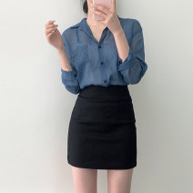 skirt Autumn of 2019 Short skirt Versatile High waist skirt Solid color Type H 18-24 years old 91% (inclusive) - 95% (inclusive) brocade polyester fiber 201g / m ^ 2 (including) - 250G / m ^ 2 (including) XS,S,M,L Black, white, brown