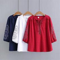 T-shirt XL,2XL,3XL,4XL Autumn of 2019 three quarter sleeve easy Regular cotton 96% and above