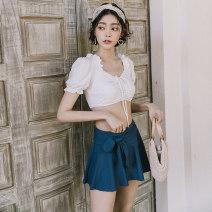 Bikini W white M,L,XL Skirt bikini With chest pad without steel support Nylon, spandex, others