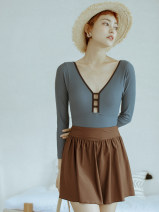one piece  BEDIS M,L,XL grey Skirt one piece With chest pad without steel support Nylon, spandex, others female Long sleeves Solid color backless
