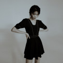 one piece  W M,L,XL black Skirt one piece With chest pad without steel support female Short sleeve Casual swimsuit