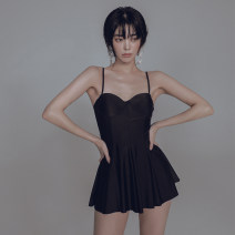 one piece  W M,L,XL black Skirt one piece With chest pad without steel support female Sleeveless Casual swimsuit