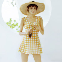 one piece  W M,L,XL yellow Skirt one piece With chest pad without steel support Polyester, others female lattice