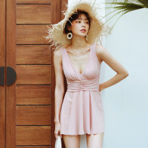 one piece  W M,L,XL Pink Skirt one piece With chest pad without steel support Nylon, spandex, others female Sleeveless