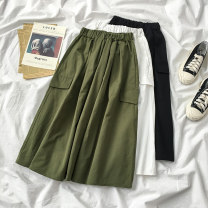 skirt Summer 2020 Average size Green white black Middle-skirt commute High waist A-line skirt Solid color Type A 18-24 years old More than 95% Chiffon Inzevuka / Yazu other Retro Other 100% Pure e-commerce (online only)