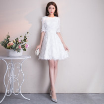 Dress / evening wear Weddings, adult gatherings, company annual meetings, daily appointments Custom contact customer service xxlsmlxl White 219 Korean version Short skirt middle-waisted Summer of 2018 Skirt hem U-neck zipper 18-25 years old QCBH219 Lily Polyester 100% Pure e-commerce (online only)