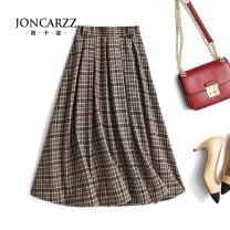 skirt Spring 2021 S Brown Black longuette commute High waist Umbrella skirt Type A JKZ6420 Joncarzz / jiankazi Pure e-commerce (online only)