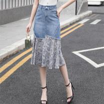 skirt Summer 2012 S M L XL XXL 3XL Light blue dark blue longuette commute High waist A-line skirt Solid color Type A 25-29 years old 55LOI88AQ More than 95% Denim AXm other Splicing Other 100%