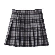 skirt Autumn 2020 S,M,L,XL Black Plaid with grey background Short skirt Versatile High waist Pleated skirt lattice Type A 18-24 years old