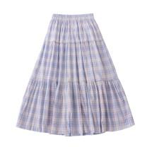 skirt Autumn 2020 Average size Ice cream light blue Mid length dress Sweet High waist A-line skirt lattice Type A 18-24 years old More than 95% cotton solar system