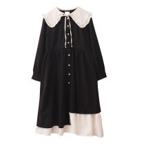 Dress Autumn 2020 Versatile black S,M,L Mid length dress Fake two pieces Long sleeves commute Doll Collar Loose waist Single breasted Irregular skirt routine 18-24 years old Type A Retro Auricularia auricula, lace, button More than 95% polyester fiber