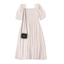 Dress Summer 2020 Fairy white + black bag, temperament black + black bag Average size Mid length dress Two piece set elbow sleeve commute square neck High waist Solid color Socket A-line skirt puff sleeve 18-24 years old Type A Retro fungus More than 95% Chiffon polyester fiber