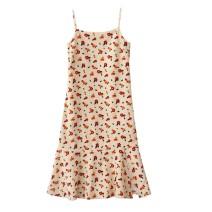 Dress Autumn 2020 S,M,L Mid length dress singleton  Sleeveless commute High waist Broken flowers zipper Ruffle Skirt camisole 18-24 years old Retro printing corduroy