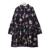 Dress Autumn 2020 Navy Blue M,L,XL,2XL Short skirt singleton  Long sleeves commute Polo collar Loose waist Big flower Socket A-line skirt routine 18-24 years old Type A Retro Button, print corduroy