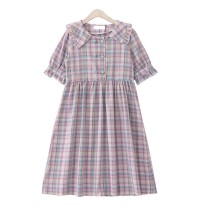 Dress Summer of 2019 Average size Mid length dress singleton  Short sleeve commute Doll Collar Loose waist lattice double-breasted A-line skirt Petal sleeve 18-24 years old Type A Retro Auricularia auricula, stitching, button 51% (inclusive) - 70% (inclusive) cotton