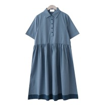 Dress Summer 2020 S,M,L Mid length dress singleton  Short sleeve commute Polo collar Loose waist Socket A-line skirt routine 18-24 years old Type A Retro Button, button cotton