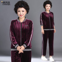 Middle aged and old women's wear Spring 2021 Fashion style mother's dress middle aged and old quality mother's dress red leisure time suit easy Two piece set other 40-49 years old Cardigan moderate Crew neck routine routine ORJ-20C2368ZY5656563 Origa pocket polyester Polyester 100% 96% and above