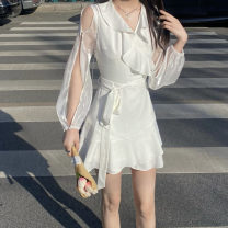Dress Summer 2021 White, black S, M Short skirt singleton  Long sleeves commute V-neck High waist Solid color Socket A-line skirt other Others 18-24 years old Type A Other / other Korean version bow 51% (inclusive) - 70% (inclusive) other other