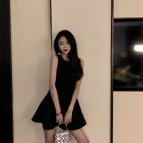 Dress Summer 2021 black S,M,L Short skirt singleton  Sleeveless commute Crew neck High waist Solid color Socket A-line skirt routine Others 18-24 years old Type A Other / other Korean version Solid color 51% (inclusive) - 70% (inclusive) other other