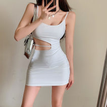 Dress Summer 2021 White, black S, M Short skirt singleton  Sleeveless commute Crew neck High waist Solid color Socket A-line skirt routine camisole 18-24 years old Other / other Korean version Hollowed out, bare back 51% (inclusive) - 70% (inclusive) other other