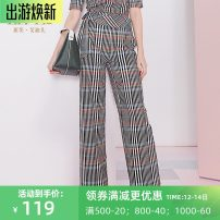 Casual pants Red miscellaneous S,M,L,XL,XXL Autumn 2020 trousers Wide leg pants High waist commute routine 30-34 years old 96% and above 1Y3K78007 Life · idea / love Eddie Retro pocket