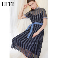 Dress Summer 2020 Mid length dress singleton  Short sleeve street Crew neck High waist Decor other A-line skirt other 30-34 years old Type X 3X2L93115 51% (inclusive) - 70% (inclusive) nylon Europe and America S,M,L,XL