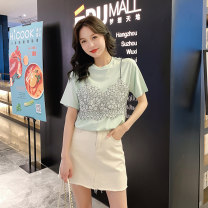 T-shirt Green white S M L XL XXL Summer of 2019 Short sleeve Crew neck easy Regular routine commute cotton 86% (inclusive) -95% (inclusive) 18-24 years old Korean version originality Acting moment W-2766 Cotton 95% polyurethane elastic fiber (spandex) 5% Exclusive payment of tmall