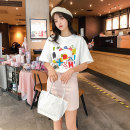 T-shirt white S M L XL XXL Summer 2020 Short sleeve Crew neck easy Regular routine commute cotton 96% and above 18-24 years old Korean version youth Geometric pattern Acting moment Cotton 100% Exclusive payment of tmall