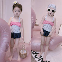 Bathing suit 5, 70-80 7, 80-90 9, 90-100 11, 100-110 13, 110-12-15, 120-130 Polyester 100% POLKA DOT SWIMSUIT suit with matching swimming cap Other / other female Children's split swimsuit 008 Class B