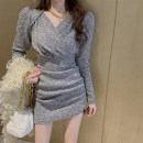 Dress Winter 2020 Picture color S,M,L,XL Short skirt singleton  Long sleeves commute V-neck High waist Solid color Socket Pencil skirt routine Others Type H Other / other Korean version 71% (inclusive) - 80% (inclusive)