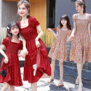 Parent child fashion Red, broken flowers Women's dress female Other / other Mom m, mom L, mom XL, size 7 (90-100cm), size 9 (100-110cm), size 11 (110-125cm), size 13 (120-140cm) summer Korean version Thin money chemical fiber Class B 2, 3, 4, 5, 6, 7, 8, 9, 10, 11, 12, 13, 14 years old