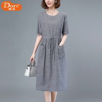 Dress Summer 2021 Hagrid M L XL 2XL Mid length dress singleton  Short sleeve commute Crew neck Loose waist lattice Socket A-line skirt routine Others 40-49 years old Type A Furdort / Frodo Korean version Pocket lace up Drawstring More than 95% other cotton Cotton 100% Pure e-commerce (online only)