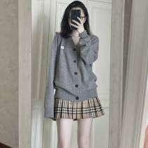Hat other Pleated skirt grey sweater cardigan grey sweater cardigan + pleated skirt S M L XL Yuanti Autumn 2020